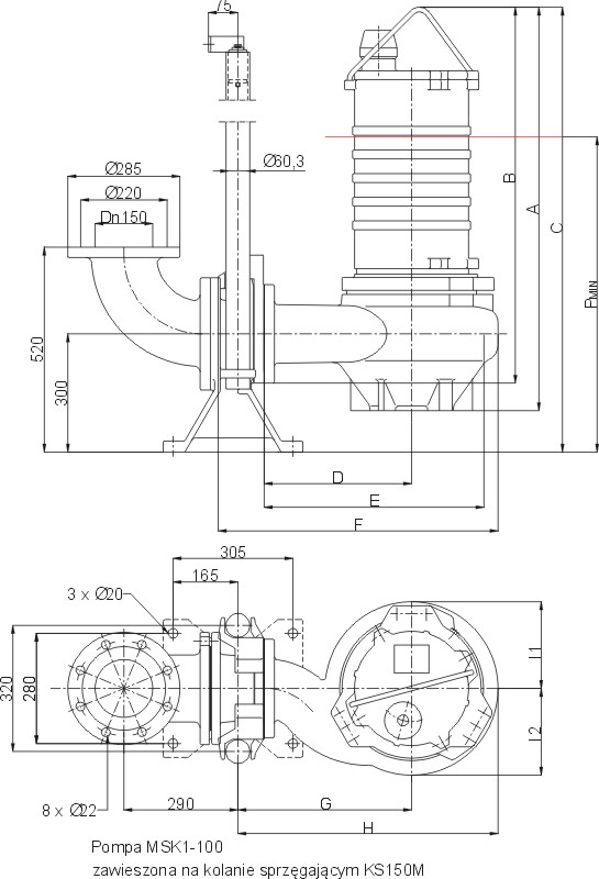 Dimensions of MSK1-100 pumps