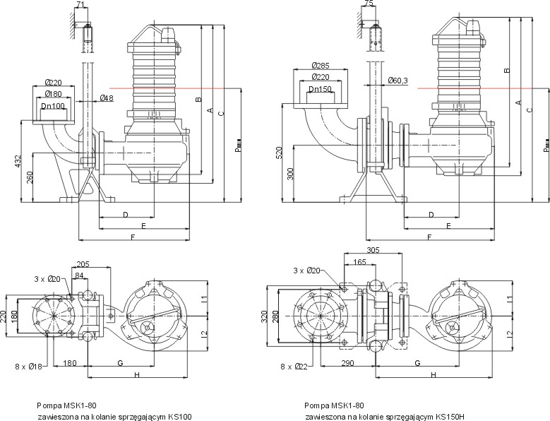 Dimensions of MSK1-80 pumps