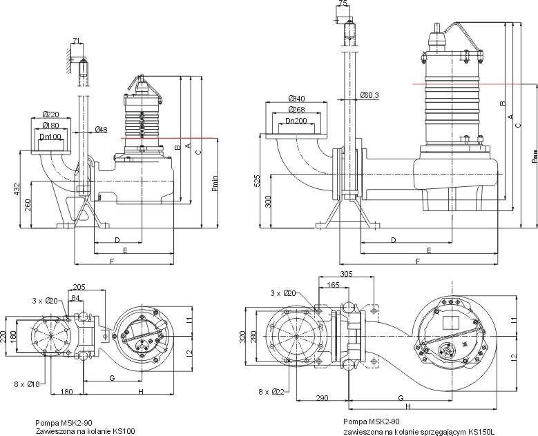 Dimensions of MSK2-90 pumps