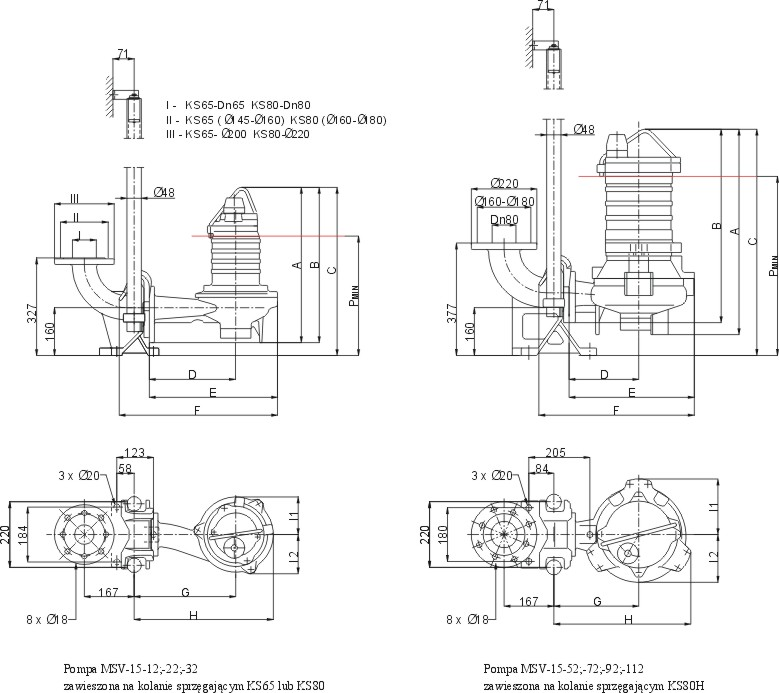 Dimensions of MSV-15 pumps