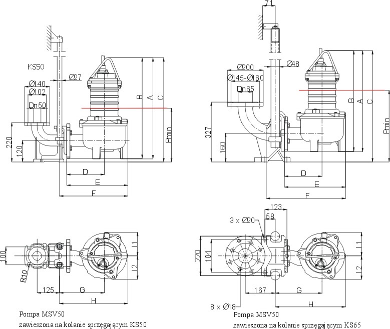 Dimensions of MSV-50 pumps