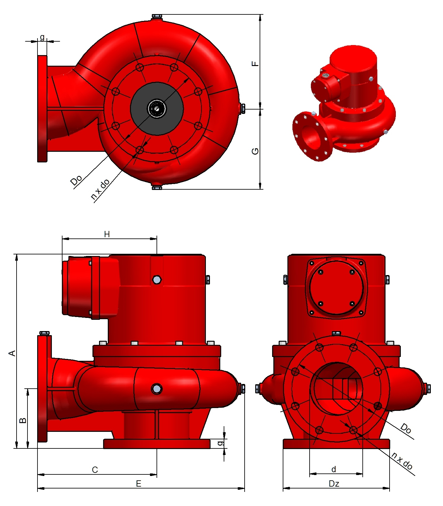Dimensions of CTR oil pumps