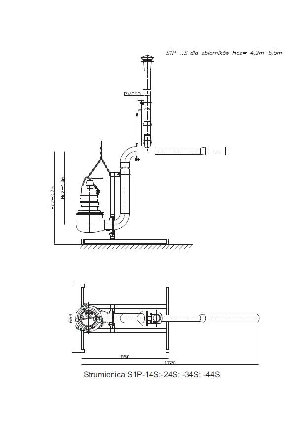 S1P - Straight standing aeration waterjet