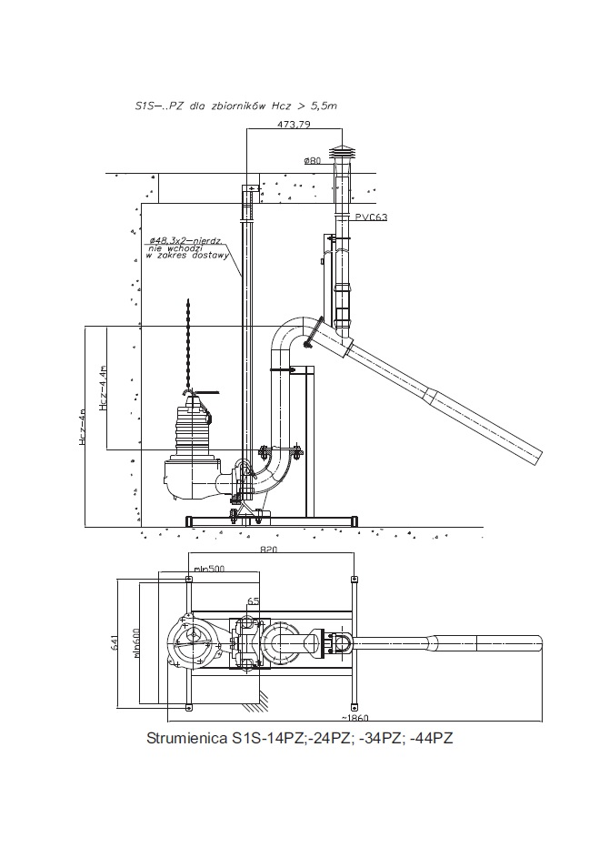 Aeration waterjet S1S-PZ Oblique attached - suspended